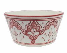 Moroccan Decorative Bowl  Ceramic Presentation Dish Handmade Hand Painted Safi Red 24 x 12 cm (FB3)